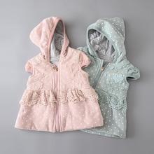Sweet Baby Girls Dots Lace Vets Cotton Fall Winter Hoodie Waistcoats Fashion Children Clothing Outwears
