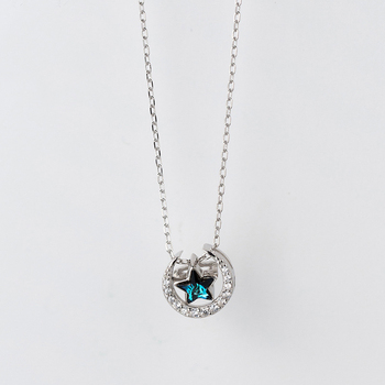 MloveAcc New 925 Sterling Silver Blue Crystal Star Moon Necklaces & Pendants Pure Sterling Silver Choker Necklace Jewelry Collar