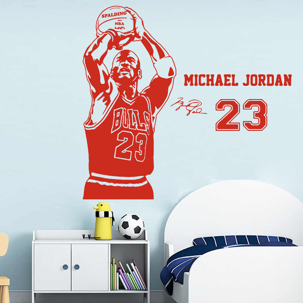 Basketball The Shoot 23 Michael Jordan Wallpaper Home Decoration Wall Sticker For Living Room Kids Room Decoration Murals Poster