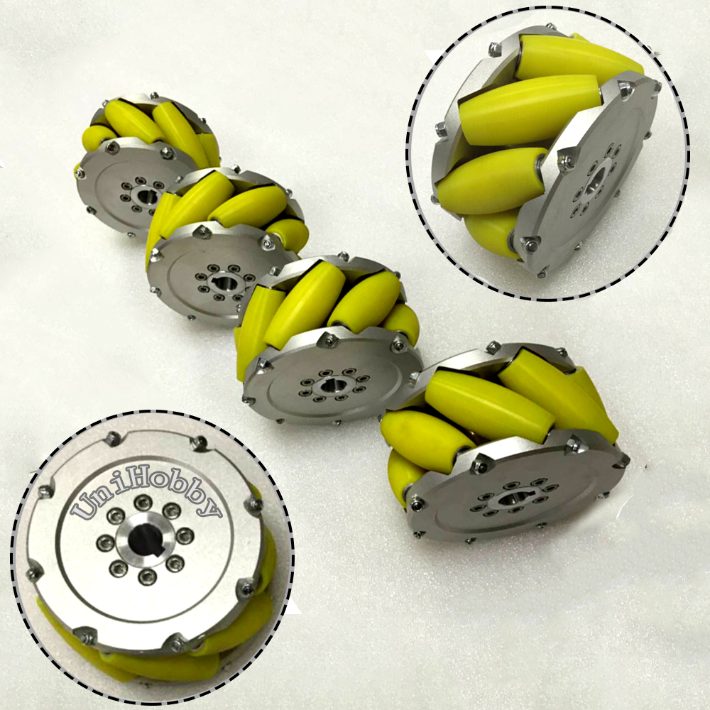 UniHobby Mecanum Wheels 8inch(203mm) UH203A Heavyduty Industrial Mecanum Wheel with 8 PU roller Max Load 800KG(4PCS/SET) a set of heavy duty mecanum wheel with imported material pu roller 14169
