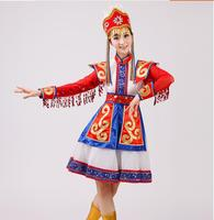 Mongolia Chopsticks Dance Clothes China Minority Folk Clothing Apparel Stage Performance Wear Dance Skirt Gown