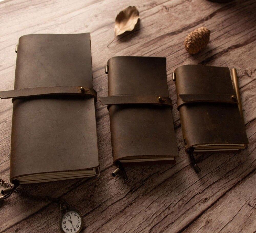Junetree hecho a mano de cuero de vaca Vintage cuaderno diario en blanco cubierta de cuero diario de cuero, diario de viaje, Sketchbook planificador