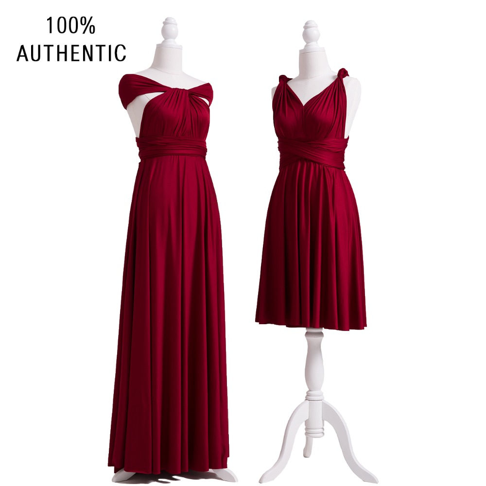 Burgundy Bridesmaid Dress Short Infinity Wine Multi Way Convertible Wrap With Straps Off The Shoulder Styles In Dresses From