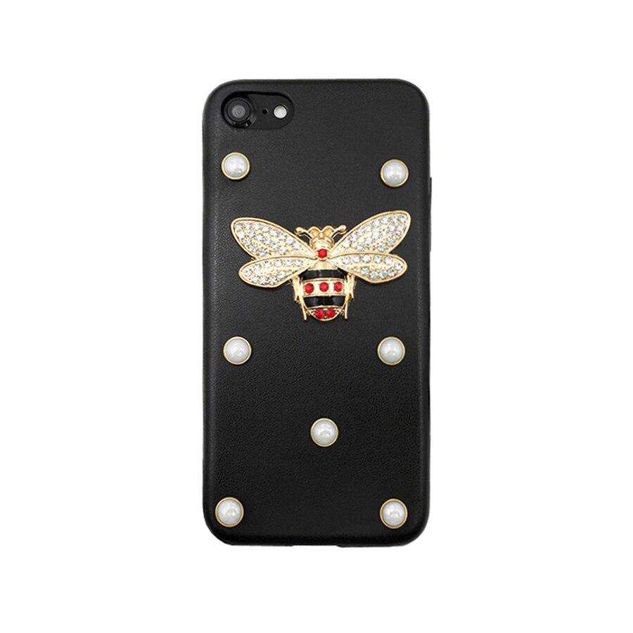 Marchio di lusso Del Metallo ape Glitter di cristallo Della Perla del Cuoio cassa del telefono Per il iphone X 7 8 Più 6 6 S più