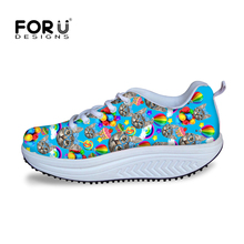 Cute Kitty Cat Printed Slimming Wedges Casual Shoes Women Platform Shoes Autumn Trendy Health Lady Beauty Swing Fitness Shoes