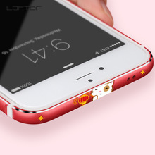 Lucky Cat Metal Phone Bumper for iPhone 7 8 Cases Plus Cover Red Cartoon Aluminum Silicone Frame Coque