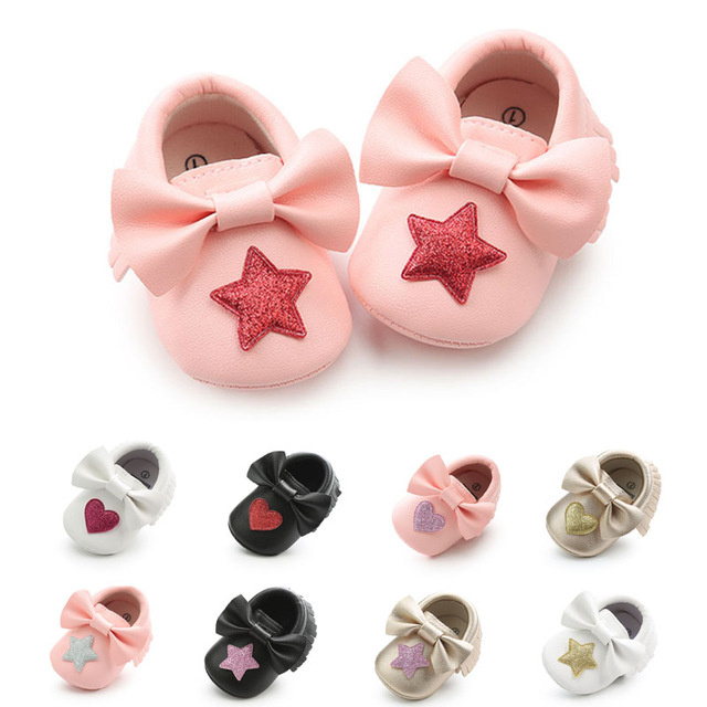 New Arrival PU Leather Baby Shoes Soft First Walkers Spring Autumn Baby Moccasins 0-18 Months Newborn Toddler Girls Shoes