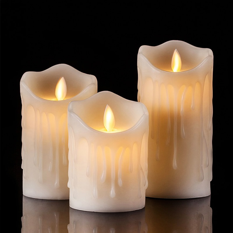 Flameless Tears Shape LED Candles Pillar Scented Bougie Velas Electric Wax Candle Home Wedding Decoration For Birthday Party
