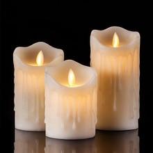 Беспламенные слезы форма светодиодный свечи столб Ароматические bougie velas электрические восковые свечи дома Свадебные украшения для дня рождения