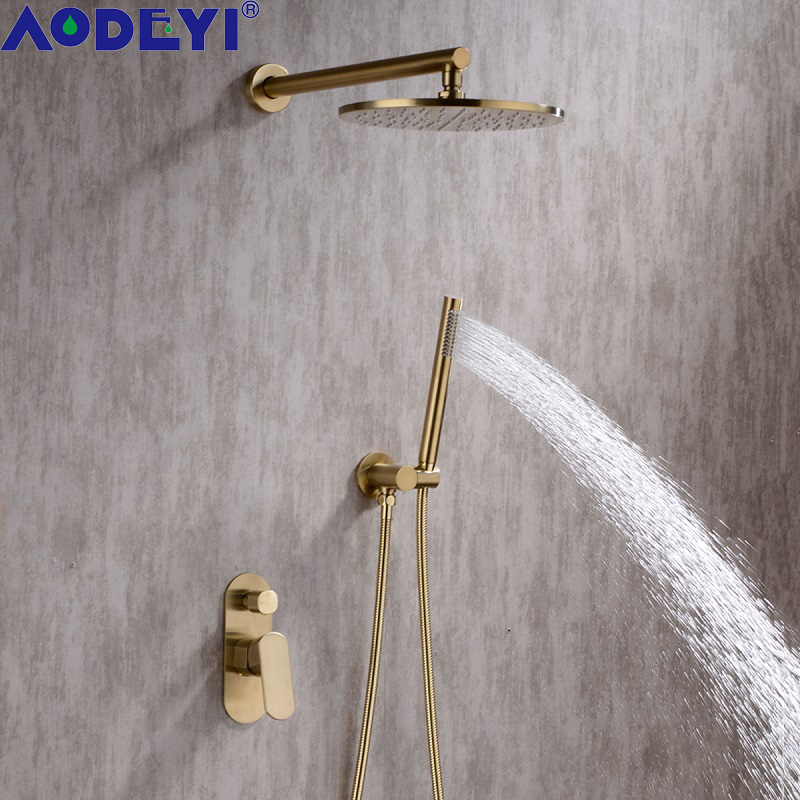 Brushed gold brass bathroom rainfall shower system 8 10 inch hot and cold mixer handheld bath