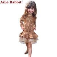 Bebek Kız Elbise Sonbahar Kış Çocuk Giyim Uzun Kollu Dantel Balo Katı Kazak Prenses Elbise Çocuk Kız Giyim