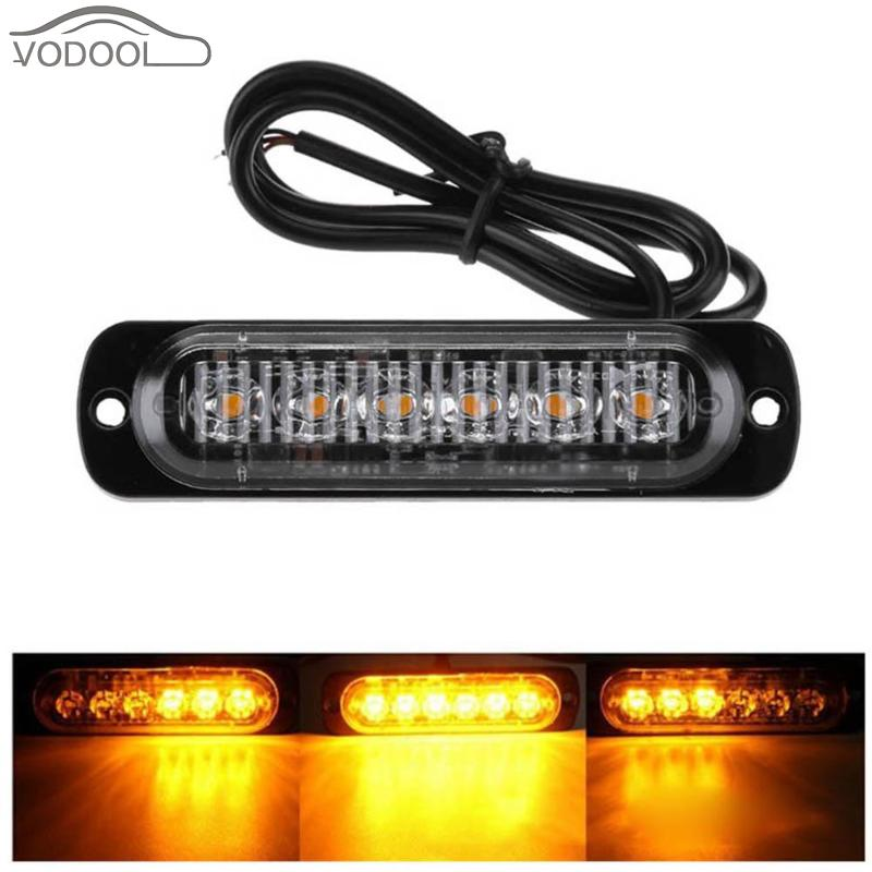VODOOL 4Pcs 18W 6 LED Slim Amber Yellow Flash Light Bar Car Vehicle Truck Moto Emergency Warning Strobe Lamp Auto Accessories 4 led 12 24v car strobe flash light white red amber light vehicle truck rear side light car emergency warning lamp drop shipping