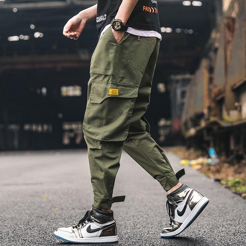 Japanese Style Fashion Casual Joggers Pants Men Loose Fit Big Pocket Cargo Pants Streetwear Slack Bottom Hip Hop Harem Pants
