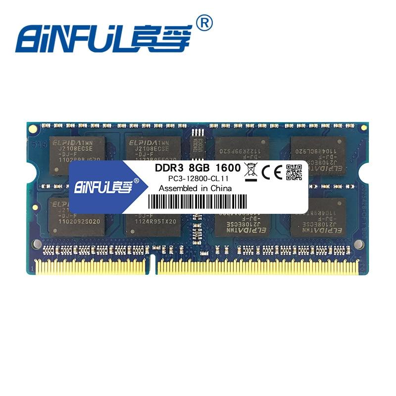 Binful DDR3 8 GB 1600 Mhz PC3-12800 1.5 v SODIMM Mémoire Ram memoria Pour Ordinateur Portable Portable