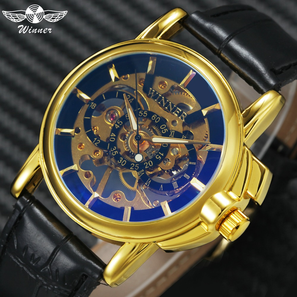 WINNER Top Brand Luxury Men's Mechanical Watches New Fashion Skeleton Automatic Wrist Watches Leather Strap Luminous Hands +BOX