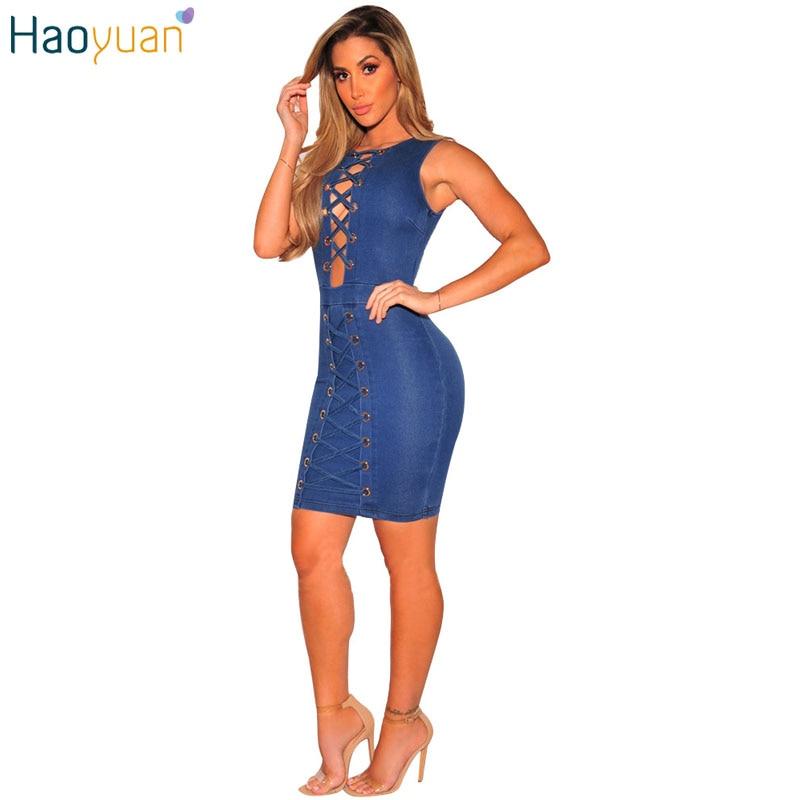 Aliexpress.com : Buy HAOYUAN Summer Blue Jeans Sexy Dress Club ...