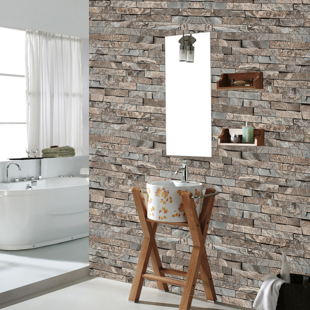 HaokHome Faux Brick Textured 3D Vinyl Wallpaper PVC Brown/Grey Realistic Stone Rolls Living Room Accent Wall Kitchen Bathroom haokhome vintage faux marble stone pvc wallpaper rolls taupe black 3d brick realistic murals home bedroom living wall decoration