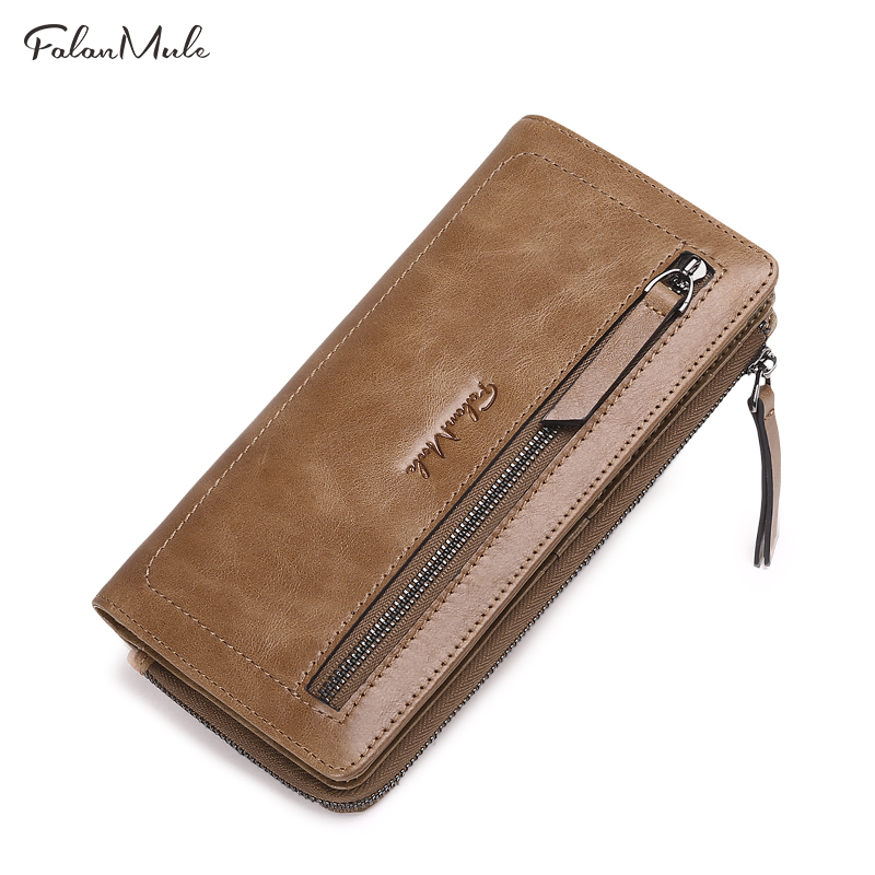 FALAN MULE vintage men wallets genuine leather casual long zipper clutch purse male card holder phone wallet aetoo genuine leather wallets men wallets clutch male purse long wallet clutch men bag card holder purse phone holder vintage