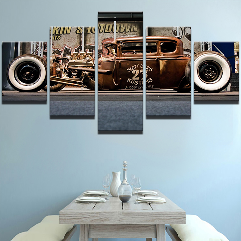 Modern Home HD Prints Fashion Wall Art Poster Frame 5 Pieces Pictures Old Vintage Car Boys