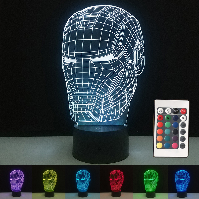 Marvel Avengers 3D Illusion LED Lamps Iron Man Mask Lamp Night Light USB Desk Table Lamp Luminaria Home Decoration Kids Toy Gift