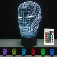 Marvel Avengers 3D illusion lampes LED fer homme masque lampe veilleuse USB bureau Table lampe Luminaria décoration de la maison enfants jouet cadeau