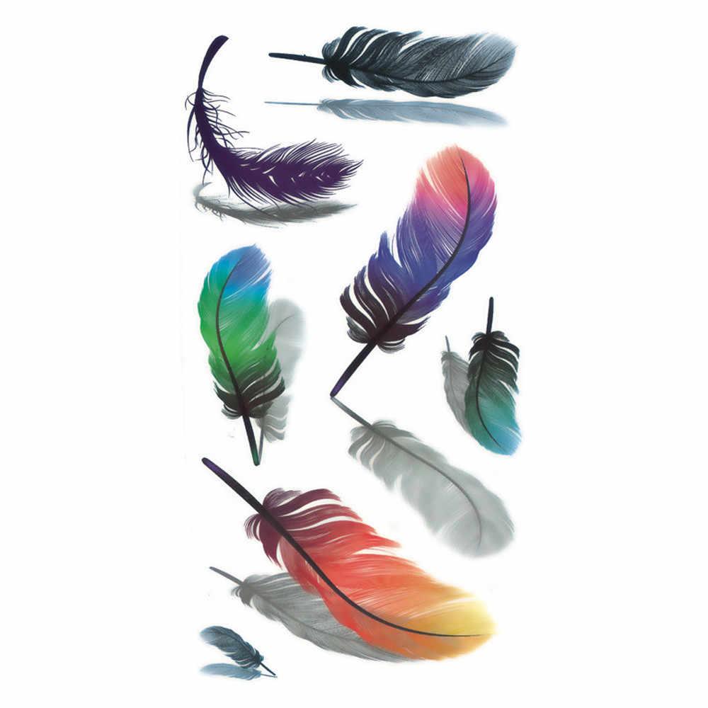 5 قطعة المؤقتة الوشم ملصق للماء ريشة 3D زهرة وهمية الوشم هيئة الفن الذراع الوشم ورقة تاتو Tatuajes Temporales # p1