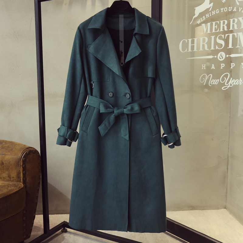 2019 New Fashion faux suede   trench   coat Single Breasted Mid-long   Trench   Coat Women Slim Belt Casual High Quality Solid Coat