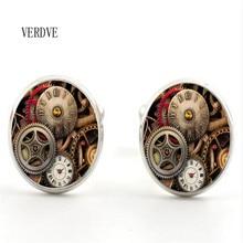 20mm cufflinks fashion handmade retro steampunk watches personalized crystal glass men's t-shirt jewelry cufflinks