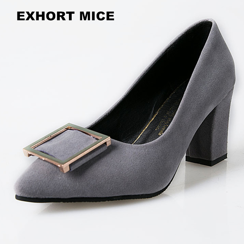 2018Summer Women Shoes Pointed Toe Pumps Dress Shoes High Heels Boat Shoes Wedding Shoes tenis feminino Side with Square buckle