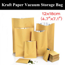 "100pcs 12x18cm (4.7""x7.1"") 280micron 3 Sides Sealing Paper Kraft Storage Bag Heat Sealed Vacuum Foil Bag Open Top Paper Bag"