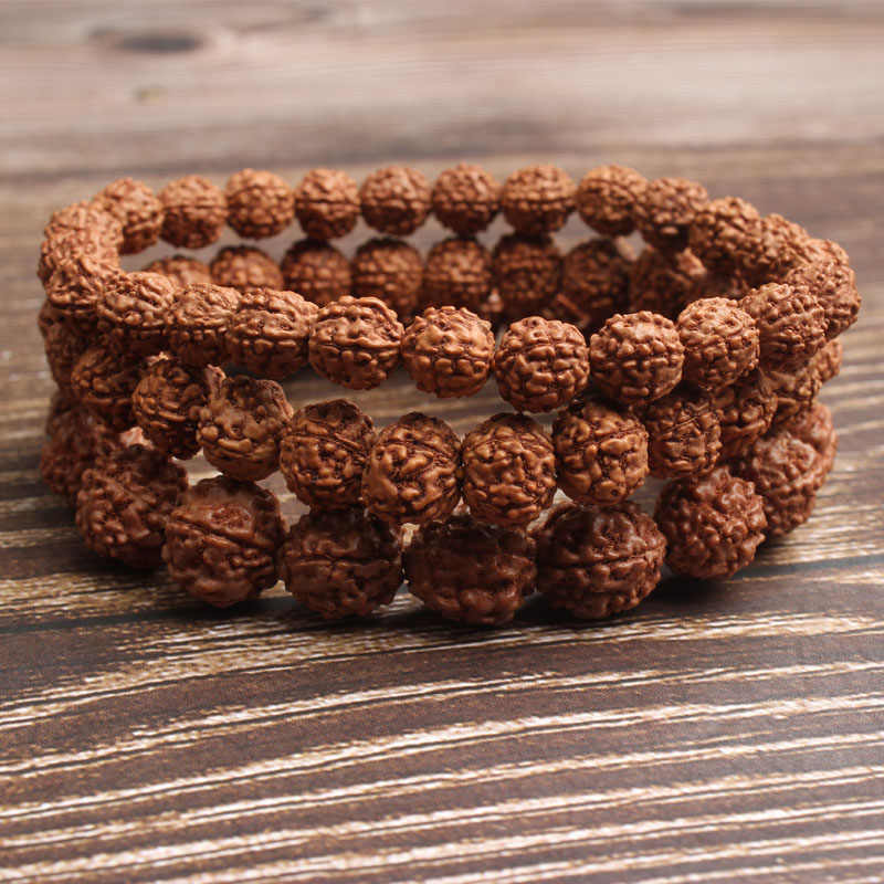 LingXiang 6/8/10mm Fashion natural Jewelry light tan rudraksha beads bracelet be fit for men and women  Accessories and amulets