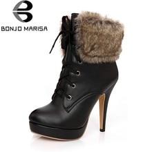 BONJOMARISA 32-43 Marca Maduras botas do Tornozelo da Plataforma Grande  Tamanho Mulheres Outono Inverno d3c9d7ad90570