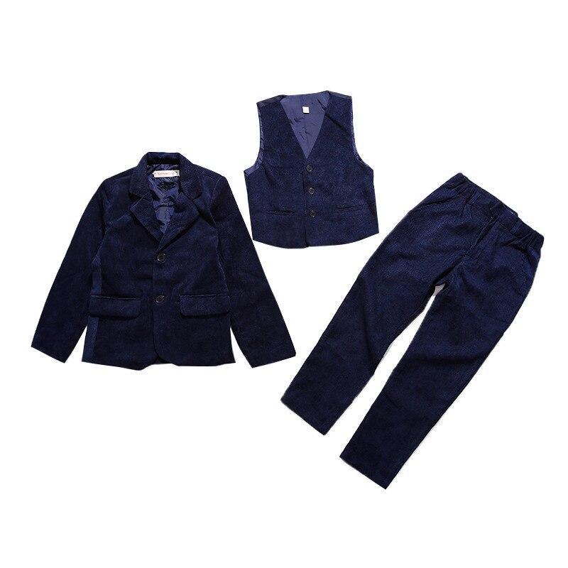 2018 Boys Suits For Weddings Costume Enfant Garcon Mariage Boys Blazer Garcon 3pcs/set Blazer + Vest + Pants Meninos 10 12 Year
