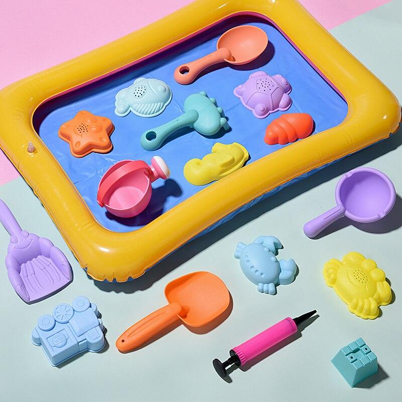 Zachte Siliconen strand speelgoed voor kinderen Zandbak Set Kit Zee zand emmer Hark Zandloper Water Tafel spelen en plezier Schop mold zomer 1