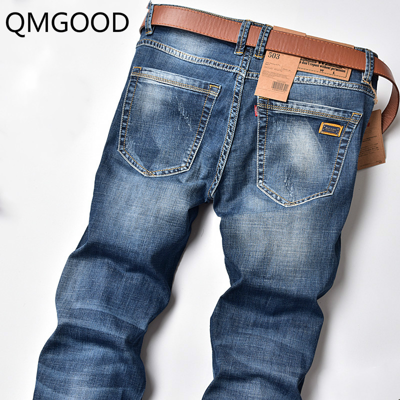 QMGOOD Spring and Summer New Men's Elastic Straight Blue Jeans High Quality Brand Cotton Men's Casual Cowboy Trousers 30 32 33
