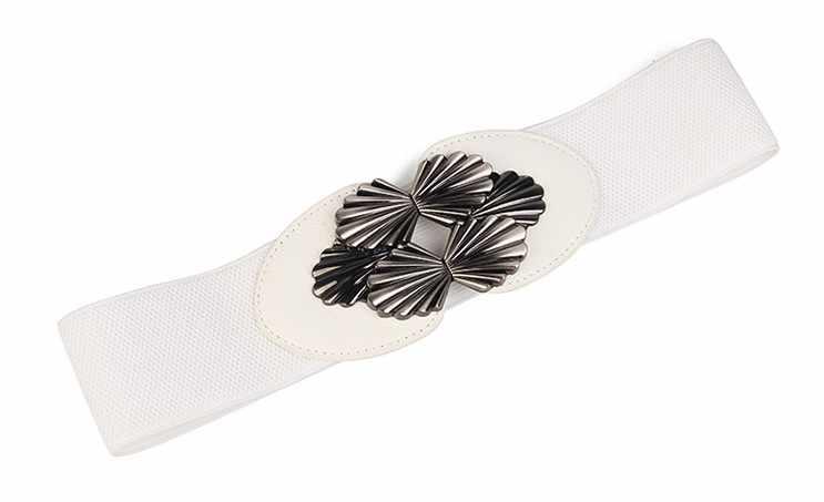 Мода корсет пояс Для женщин эластичный пояс черный металлической пряжкой стрейч талии широким тюльпан белый Широкие пояса Искусственная кожа платье