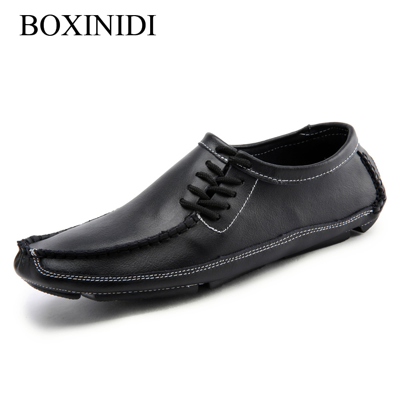 BOXINIDI 2016 fashion Moccasins Lace Up Man Shoes,Plus size 45 46 47 Flats Boat shoes Simple Drive Loafers Leather Man Autumn от Aliexpress INT
