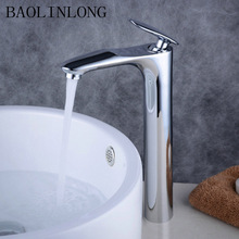 BAOLINLONG Styling Basin Brass Bathroom Faucet Deck Mount Vanity Vessel Sinks Mixer Faucets Tap baking finish
