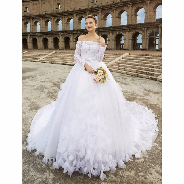 Lan Ting Bride Ball Gown Wedding Dress Off The Shoulder Cathedral Train Lace Bridal