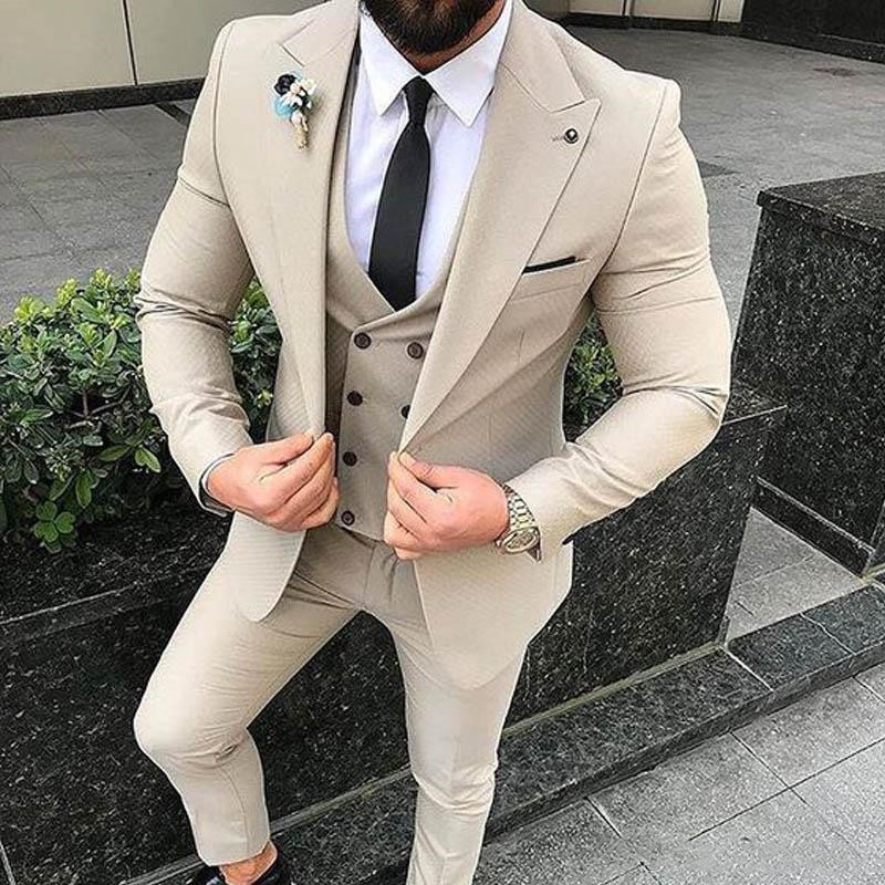 Slim Fit Beige 3 Piece Suit Men Wedding Tuxedos Bridegroom Groomsmen Suits Men Business Party Prom Blazer(Jacket+Pants+ Tie+Vest 1