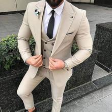 Slim Fit Beige 3 Piece Suit Men Wedding Tuxedos Bridegroom Groomsmen Suits Business Party Prom Blazer(Jacket+Pants+ Tie+Vest
