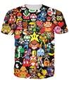 Arcade Collage Camiseta Pikachu Mario Kirby Chocobo estilo arcade Personaje de Dibujos Animados de la camiseta de Las Mujeres/de Los Hombres Del Estilo Del Verano tops tee
