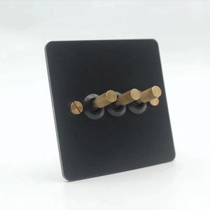 Image 3 - Black loft industrial style light luxury retro copper hand dialing metal panel 86 type lever switch surface mounted brass screw