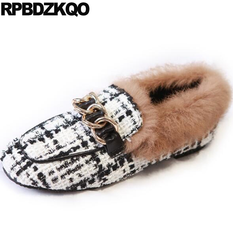 Fur Round Toe Chain Women Factory Direct Designer Shoes China Metal Walking Flats Chinese Woven Loafers Black And White Latest slhjc 2017 autumn flat heel shoes pointed toe women flats with metal chain real fur loafers work shoes d25