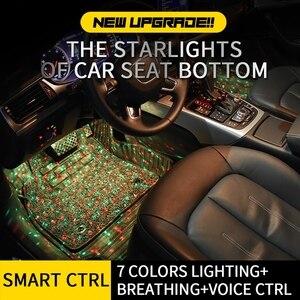 Image 2 - Tak Wai Lee 4 قطعة USB LED مقعد السيارة أسفل الغلاف الجوي النجوم شريط إضاءة بألوان أحمر وأخضر وأزرق التصميم بريتينغ صوت بعيد CTRL مصباح داخلي