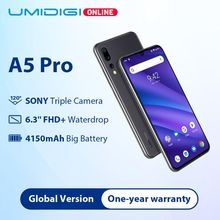Refurbished UMIDIGI A5 Pro Global Version16MP Triple Camera Android 9.0 6.3 FHD+4150mAh Octa Core 4GB+32GB Smartphone 2+1 Slots