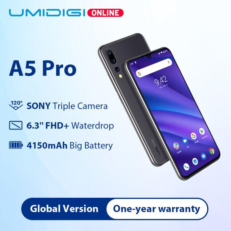 UMIDIGI A5 Mundial Pro Version16MP Triplo Android Câmera 9.0 6.3 'FHD + 4150mAh Grande Bateria Núcleo octa 4GB + 32GB Smartphones 2 + 1 Slots