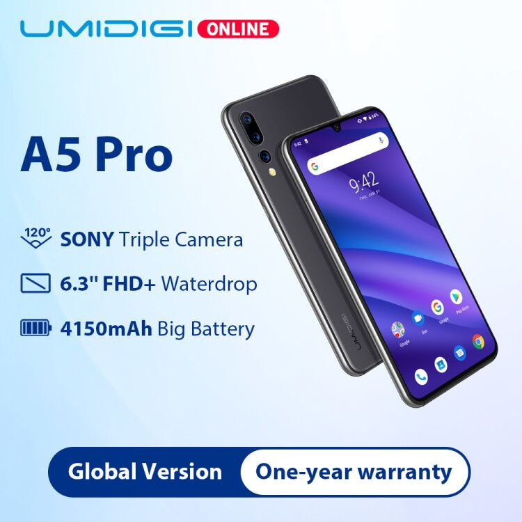 Umidigi a5 pro global version16mp triplo câmera android 9.0 6.3 ffhd + 4150 mah grande bateria octa núcleo 4 gb + 32 gb smartphone 2 + 1 slots