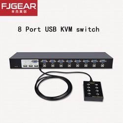VGA Sitch 8 Port KVM SWITCH Manuale Chiave Presse VGA USB Telecomando Via Cavo di Estensione Switcher 1U ConsoleFJ-810UK