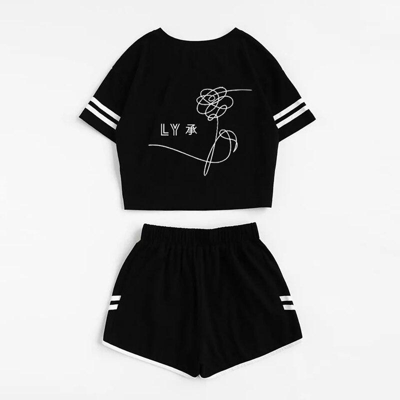 2018 Tracksuit Women Two Piece Set Summer T Shirt Crop Tops and Shorts Set Fashion BTS Kpop Stripe Lady Track Suit Set 2 Pieces